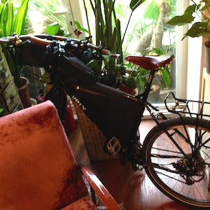 My bike is squashed between a pot plant and a lounge chair.