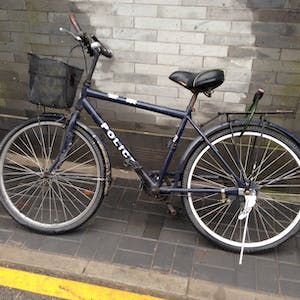 View enlargement of A simple black bicycle reads 'Police'.
