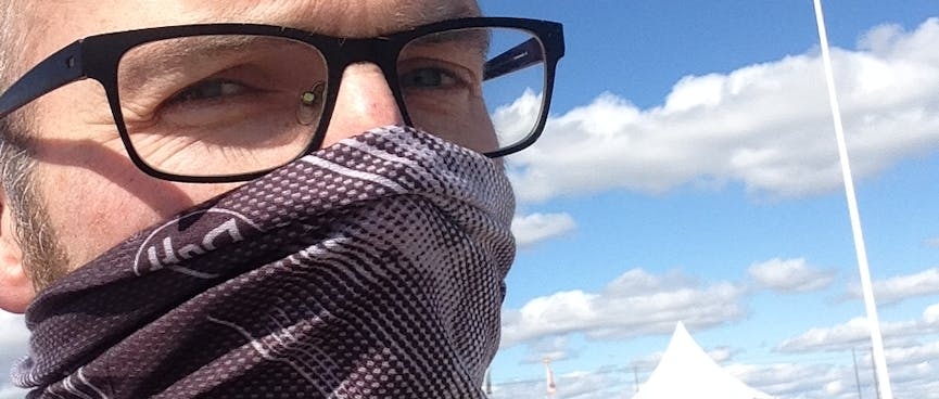 I wear a Buff brand scarf over my mouth and nose.
