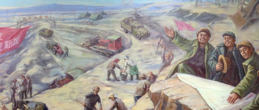A painting depicts men, women, tractors and horses working in an open air mine.