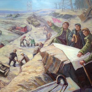 View enlargement of A painting depicts men, women, tractors and horses working in an open air mine.