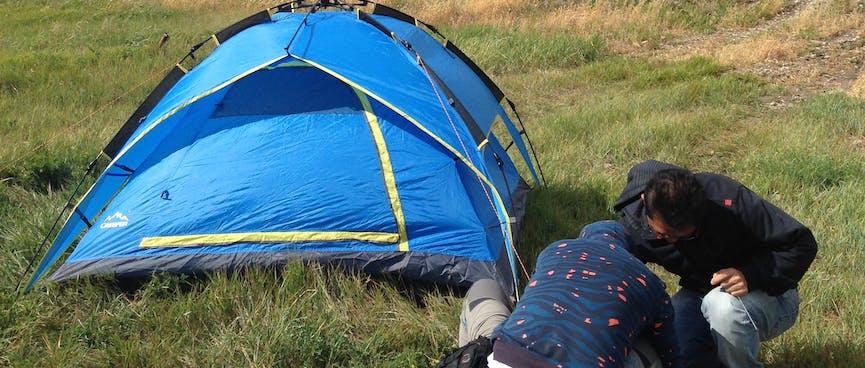 A four man popup tent.