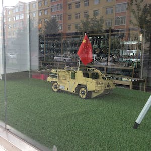 View enlargement of A scale model Armoured Personnel Vehicle is the size of a large cat and flies the Chinese flag.