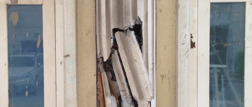 Cracked plastic reveals a less substantial side to a classical column.