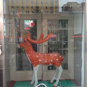View enlargement of A model reindeer has white legs and a brown body with white spots.