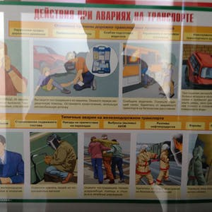 View enlargement of An illustrated chart showing what to do in various emergencies, at Zabaikalsk.