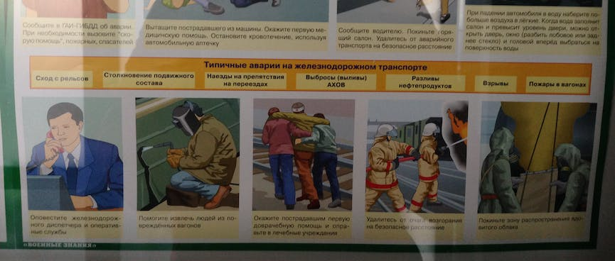 An illustrated chart showing what to do in various emergencies, at Zabaikalsk.