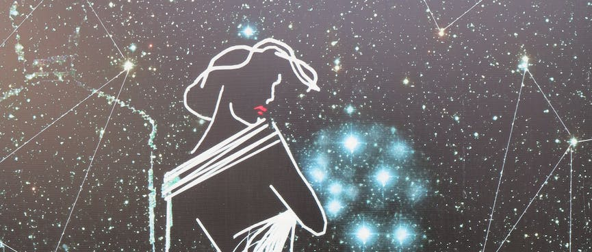 An outline of a fashionable woman, on a background of starry constellations.