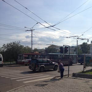 Trolley buses, just like at home.