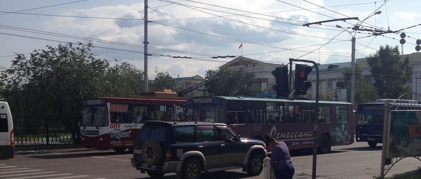 Trolley buses are powered by overhead wires, in Chita.