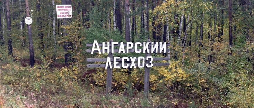 A wooden sign for the Angarsky Les forestry business.