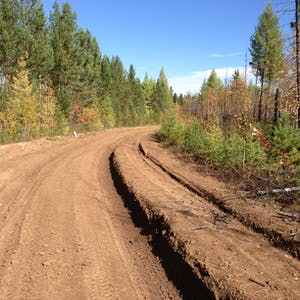 View enlargement of Tyre tracks form deep gouges in the dirt road.
