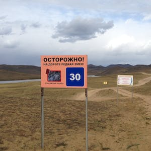 View enlargement of A Russian warning signs bears the image of a snake.