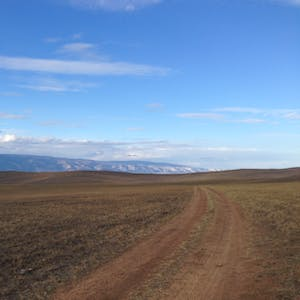 View enlargement of Grassy steppes and distant mountains.