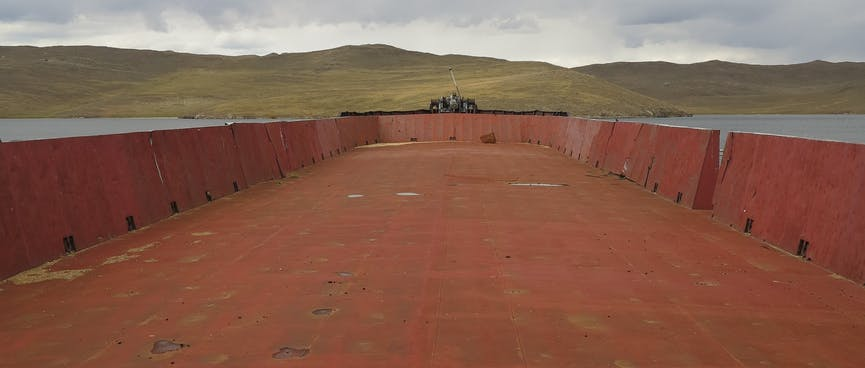 A large red steel deck.