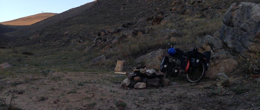 A blackened pile of rocks.