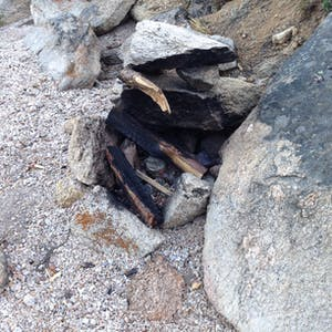 View enlargement of Charred pieces of wood and a metal can.