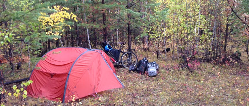 My wet tent in the thick forest.
