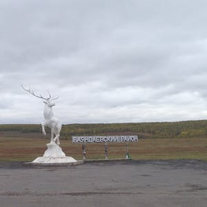 View enlargement of A proud white reindeer stands on a stone plinth.