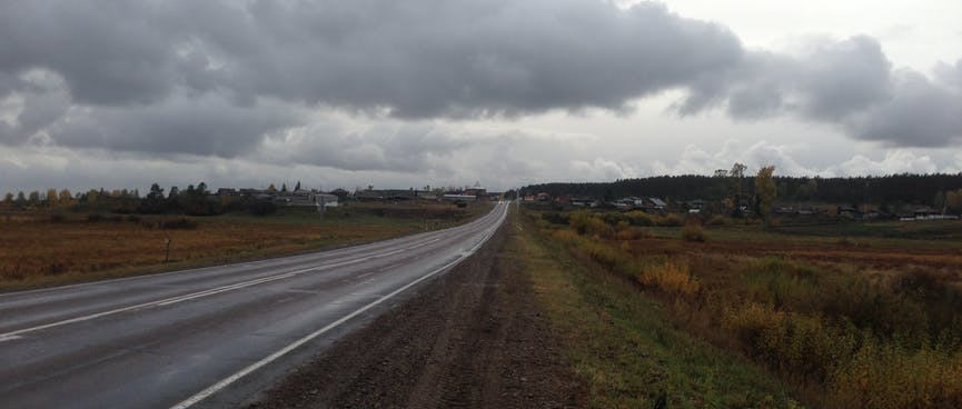 The road climbs to a small town.