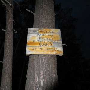 View enlargement of A homemade wooden sign is attached halfway up a tree trunk.