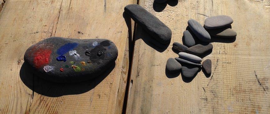 Pretty painted rocks.