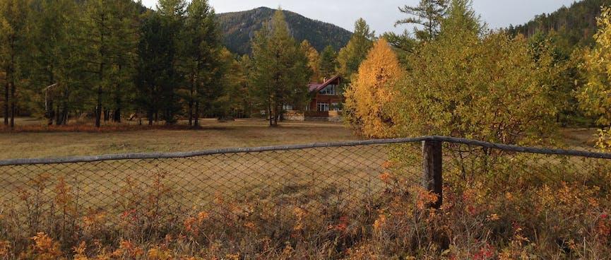 The lodge perimeter.