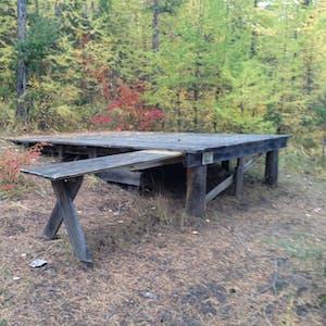 Raised camping platforms.