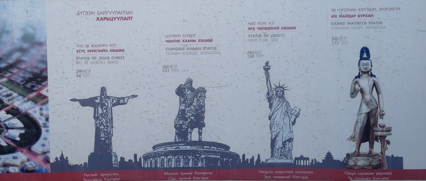 A billboard compares famous statues around the world with one that is under construction here.