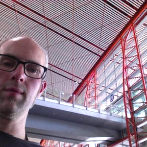 A selfie in the cavernous terminal.