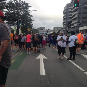 View enlargement of Lining up for the annual Round-The-Bays race.