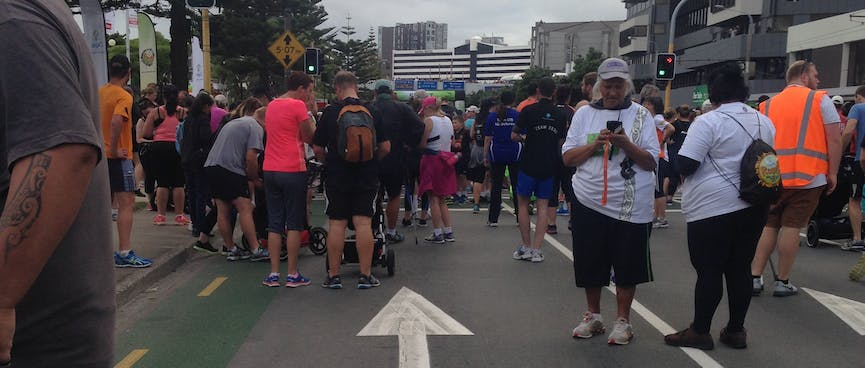 Lining up for the annual Round-The-Bays race.