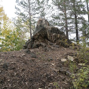 View enlargement of Rocky features further up the steep trail.