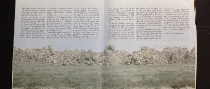 """A two page magazine spread titled """"Beauty of the Steppe""""."""