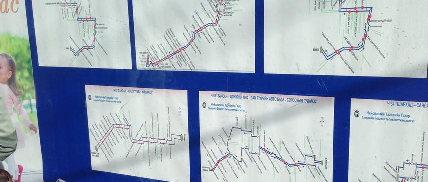 Six bus routes maps, all in Mongolian.
