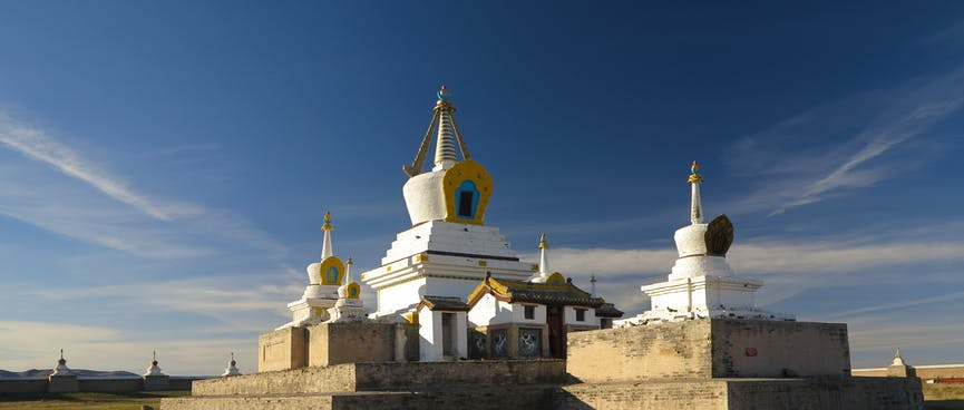 A cluster of stupas in the middle of the complex.