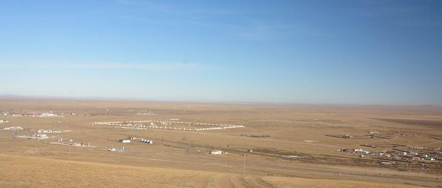 An elevated view of Kharkhorin and Erdene Zuu monastery.