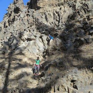 Navigating the sketchy descent.