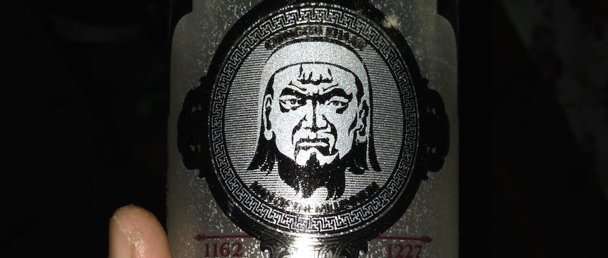 A bottle of Platinum Chinggis vodka features the stern face of Chinggis Khan.