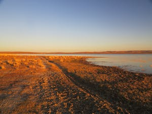 A single motorcycle track is imprinted on a sunlit sandy lake shore.