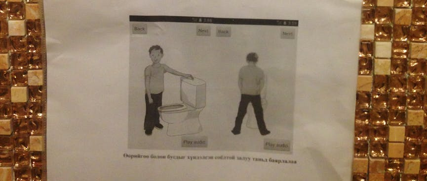 A black and white printout explains how to pee into a western style sit down toilet.