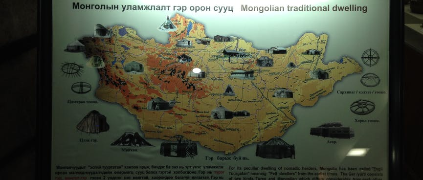 A map of Mongolia showing the different styles of traditional housing used around the country.