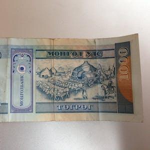 1000 Tugrik note (back).
