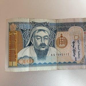 1000 Tugrik note (front).