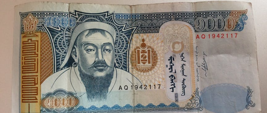 The face of Genghis Khaan, on the front of a 1000 Tugrik bill.