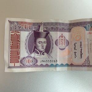 100 Tugrik note (front).
