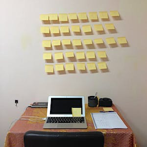 35 yellow sticky notes on the wall above my work desk.